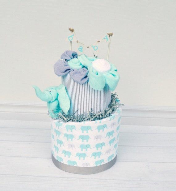 Elephant baby shower decorations elephant diaper cake gray for Baby shower diaper decoration