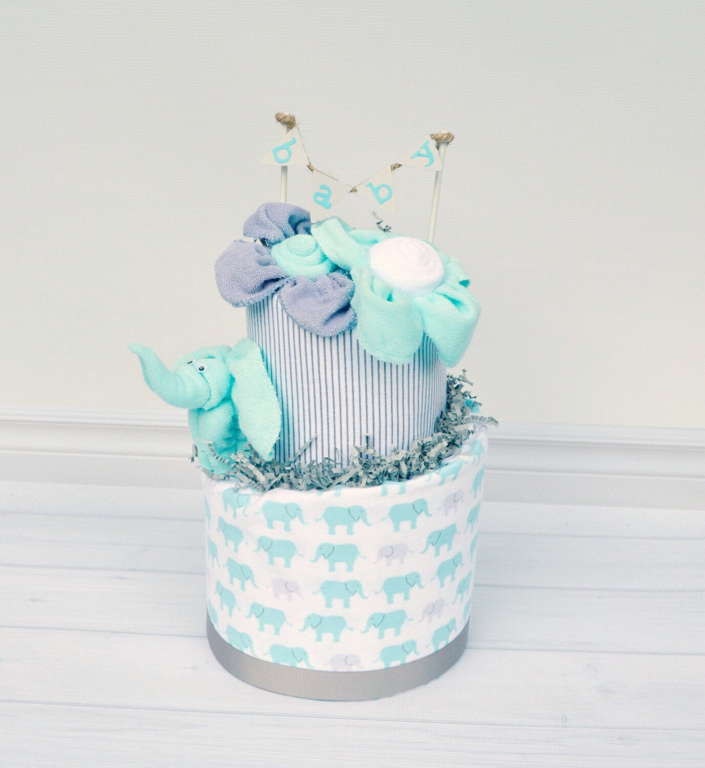 Elephant Baby Shower Decorations Elephant Diaper Cake Gray and