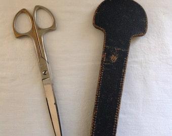 Vintage Grasoli Scissors with Leather Sheath (J-16)