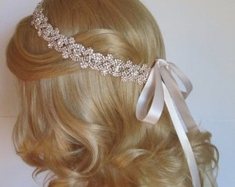 Rose Gold Rhinestone Bridal Headband,Bridal Accessories,Wedding Accessories,Crystal Wedding Hairband,Bridal Headpiece,#H29