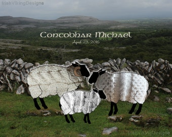 Aran Sheep, personalized art print, Irish nursery decor, Irish housewarming, Irish wedding, engagement gift, Irish shower gift, wee sheep