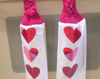 Towel - Kitchen Towel with CrochetTowel Topper - Hearts for Valentine's Day