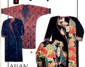 Asian Quarters Coat Slim Fit Reversible Above Ankle Pieced Collage Sizes Adult XS S M L XL June Colburn 3151 Uncut Craft Sewing Pattern