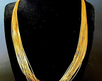 Vintage Native American Style 14K Gold filled multi-strand liquid Bead Necklace