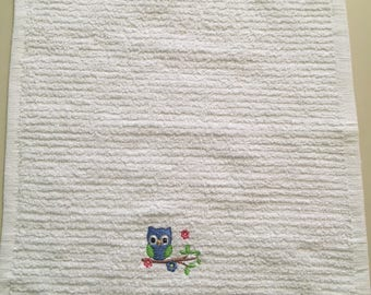 Embroidered Kitchen Dishcloth/Owl