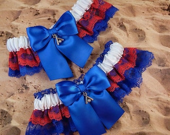 Baseball Royal Blue Red Lace White Satin Baseball Charm Wedding Garter Toss Set