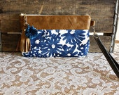 Blue white pompom wallet, wristlet, clutch, pouch accessory- leather trim - Ready to ship