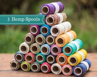 Hemp Cord,  3 Spools,  0.5mm 10lb, Thin Hemp Twine, Hemp String,  Micro Macrame Jewelry Cord, Choose The Colors