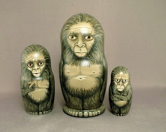 Sasquatch Bigfoot Nesting Dolls Family Set of 3