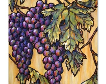 Vineyard Grapes Wood Burning Art, Acrylic Painting, Original