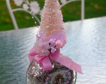 Holiday Decorated Bottle, Bottle Brush Christmas Tree Decoration Ornament
