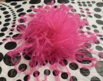 One Hot Pink Jumbo Curly Ostrich Feather Puff Hair Clip