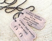 Gift For Dad, Hand Stamped Dog Tag Necklace, Baby Feet Jewelry, Copper Dog Tags, 7 Year Anniversary Gift, Husband Personalized Gift