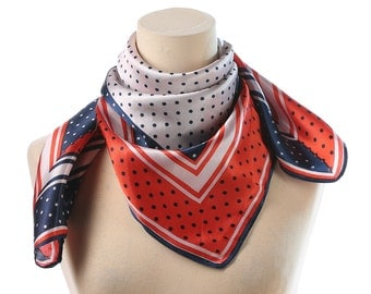 POLKA DOT Scarf 70s Red White and Blue Retro Neck Scarf Neckerchief Shawl Mod Vintage Neck Scarf 1970s Kerchief Hipster Neckwear Women Gift