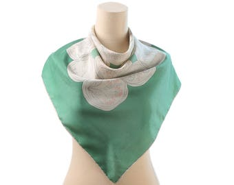 Beautiful Silk Scarf 60s GREEN WHITE Abstract Flowers Printed 1960s Bohemian 31 X 31 inch Hand Rolled Vintage Mod Mad Men Rare Shawl Gift