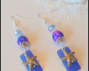 Sea Blue Sea Glass Earrings with Starfish Charms
