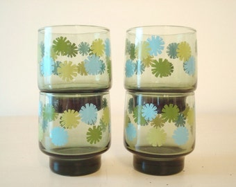 Flowered drinking glasses, 4  juice glasses, aqua, gold and green on olive green glass, mid-century kitchen, housewarming gift
