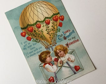 Valentine Postcard Hot Air Balloon Antique 1907-15 Germany
