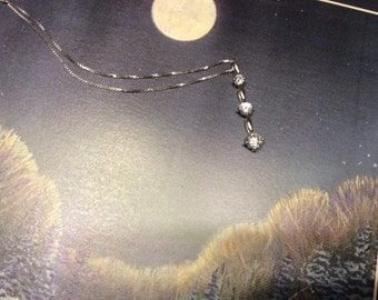 Sale ...Brilliant Journey pendant necklace set in sterling 925 with white box chain 18 inches
