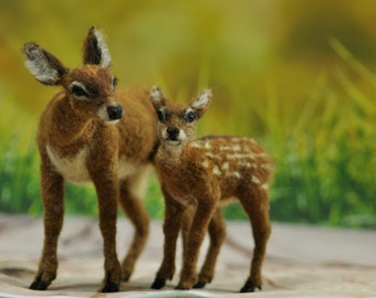 Mother-deer and a fawn, Needle Felted  Animals, Needle felted deer, Needle felted animal