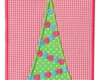 902 Christmas Tree Patch 4 Machine Embroidery Applique Design