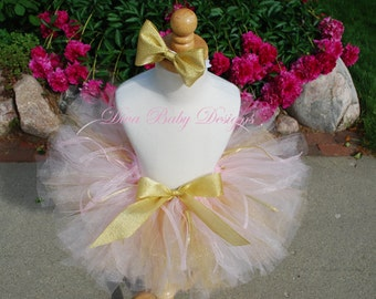 Girls pink and gold cake smash birthday tutu and headband set, newborn photo prop, smash cake outfit, baby girl coming home outfit