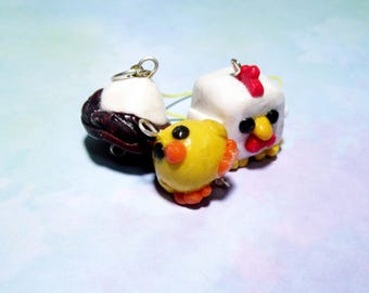 Chicken or the Egg Charms.