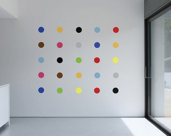 Damian Hirst Inspired Multi-Coloured Art Deco Spot Wall Stickers