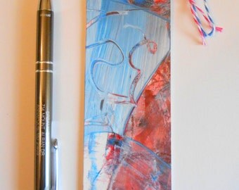 Hand Painted Artsy Bookmark Red Blue White