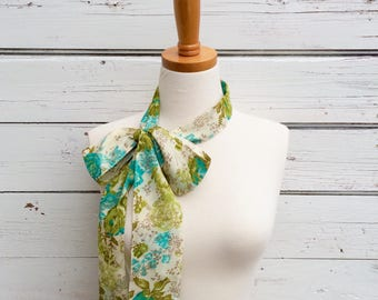 Floral Skinny Scarf Cotton Skinny Scarf, Neck Tie for Women, Long Cream and Blue Scarf, Headband, Choker Scarf, Head Wrap, Spring Scarf