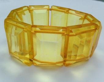 Vintage Yellow Lucite Bracelet