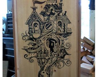 Cursive Mansion, Original Carved Wood Painting -Home Tree Home- by Buzz Parker 12x18  Redwood Forest Landscape Escape Hike
