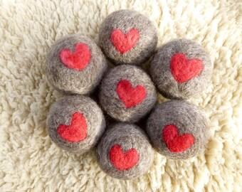 Dryer Balls felted wool locally grown wool set of three heart design