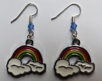 Rainbows on clouds earrings