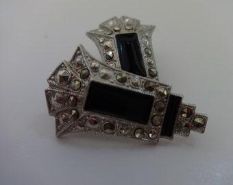 Vintage Art Deco Style Clip On Earrings
