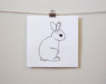 "modern minimal animal art: ""simply cute bunny,"" hand-pressed thermal print"