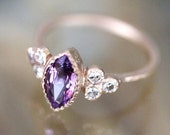 Donate To Bella - Purple Pink Sapphire 14K Rose Gold Ring, Gemstone Ring, Stacking Ring, Birthstone Ring, Eco Friendly - Ship In The Next 9