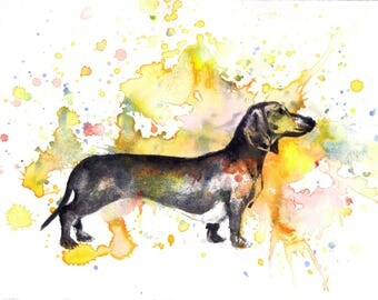 Custom Pet Portrait Painting Custom Dog Portrait Your Favorite Anything in a Splash of Color Dog Dachshund Painting Print