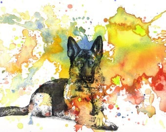 Custom Pet Portrait Painting Custom Dog Portrait Your Favorite Anything in a Splash of Color Dog German Shepard Painting Print