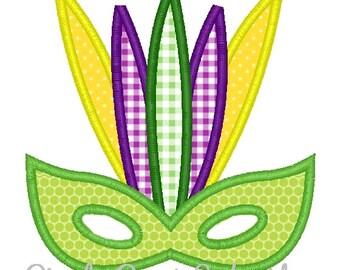 Mardi Gras Mask Machine Embroidery Applique Design