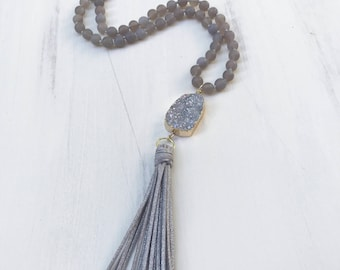 Beaded Tassel Knotted Necklace with Gray Agate Beads, Gray Druzy Gold Dipped Charm & Gray Suede Tassel