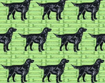 Black flatcoat retriever fabric with duck decoys