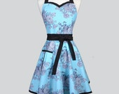 Sweetheart Retro Apron . Womens Robin Egg Blue and Black Floral Cute Flirty and Sexy Woman Retro Hostess or Wedding