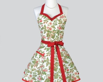 SALE Sweetheart Retro Apron , Rich Red Roses and Holly on Ivory Vintage Style Retro Apron Kitchen Apron Makes Ideal Christmas or Hostess Gif
