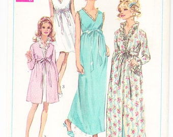Vintage 1968 Simplicity 7957 Sewing Pattern Misses' Robe and Nightgown in Two Lengths Size 12 Bust 34