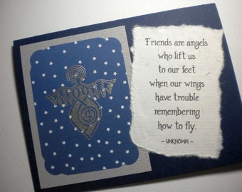 Mixed Media Collage Greeting Card with angel quote ~ ANGELIC FRIENDS