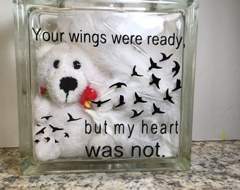 Memorial Glass Block with Bear, Angel Feathers, battery operated L.E.D.  Lights and black, vinyl lettering