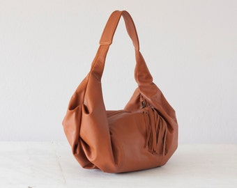 Brown leather bag, hobo purse everyday bag small shoulder bag slouchy purse hobo purse women small bag - Mini Kallia bag