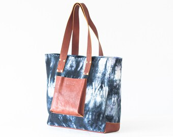 CLEARANCE Shopper tote bag in black shibori and brown leather, shoulder bag women purse large bag tote - The Aella tote