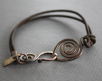 Brown leather copper bracelet with a swirl and swan hook clasp - Leather bracelet - Copper bracelet - BR002